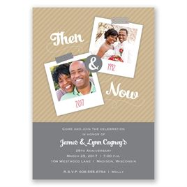 Then and Now - Pewter - Anniversary Invitation