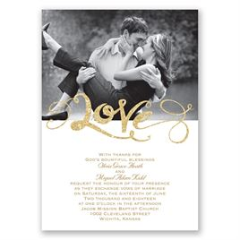 Love Sparkles - Timber Faux Glitter - Invitation