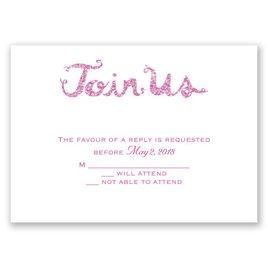 Love Sparkles - Fuchsia Faux Glitter - Response Card