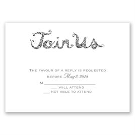 Love Sparkles - Pewter Faux Glitter - Response Card