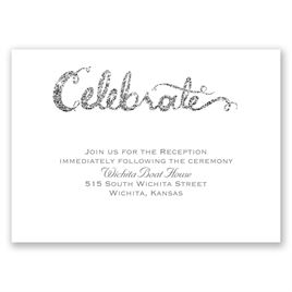 Love Sparkles - Pewter Faux Glitter - Reception Card