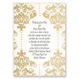 Brilliant Damask - Timber Faux Glitter - Invitation