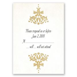 Brilliant Damask - Timber Faux Glitter - Response Card