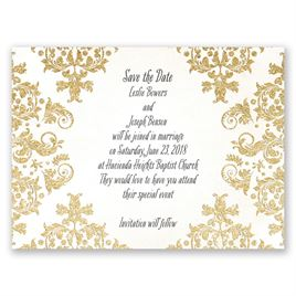 Brilliant Damask - Timber Faux Glitter - Save the Date Card