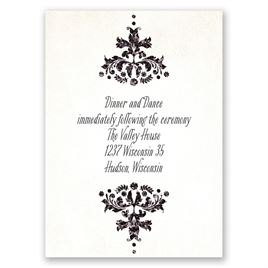 Brilliant Damask - Black Faux Glitter - Reception Card