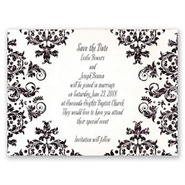 Brilliant Damask - Black Faux Glitter - Save the Date Card
