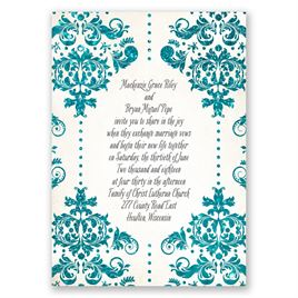 Brilliant Damask - Palm Faux Glitter - Invitation