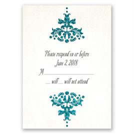 Brilliant Damask - Palm Faux Glitter - Response Card