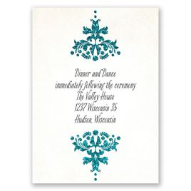 Brilliant Damask - Palm Faux Glitter - Reception Card
