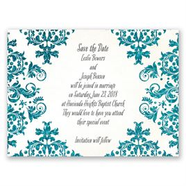 Brilliant Damask - Palm Faux Glitter - Save the Date Card