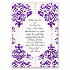 Brilliant Damask - Violet Faux Glitter - Invitation