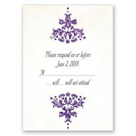 Brilliant Damask - Violet Faux Glitter - Response Card