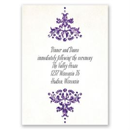Brilliant Damask - Violet Faux Glitter - Reception Card