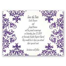 Brilliant Damask - Violet Faux Glitter - Save the Date Card