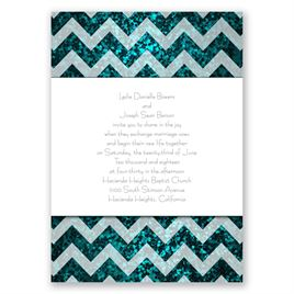Shiny Chevron - Palm Faux Glitter - Invitation