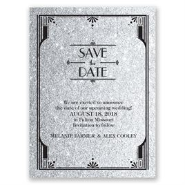 Glamorous - Pewter Faux Glitter - Save the Date Card