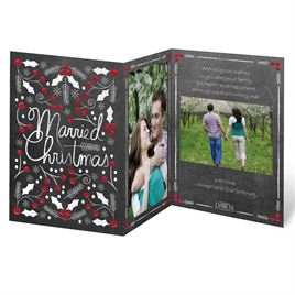 A Holly Holiday - Black - Photo Holiday Card