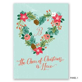 Vintage Floral Heart - Photo Holiday Card