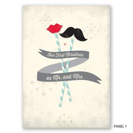 Mustache and Lips - Photo Holiday Card