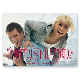 Snowflakes and Polka Dots - Photo Holiday Card
