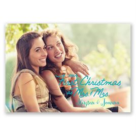 Stars and Snowflakes - Mrs. and Mrs. - Photo Holiday Card