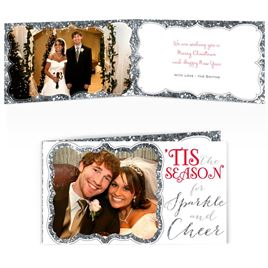 Sparkle and Cheer - Silver Faux Glitter - Photo Holiday Card