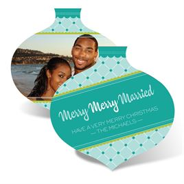 Merry Married Ornament - Mint - Photo Holiday Card