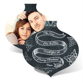 Holiday Cards for Newlyweds: Chalkboard Ornament Photo Holiday Card