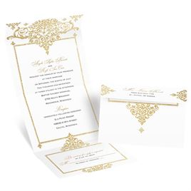 Dazzling Damask - Timber Faux Glitter - Seal and Send Invitation