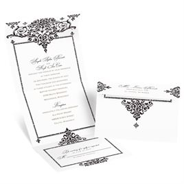 Dazzling Damask - Black Faux Glitter - Seal and Send Invitation