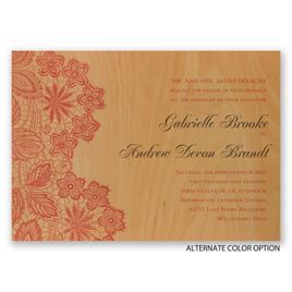 Floral Trim - Real Wood Invitation