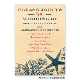 Coral Reef - Real Wood Invitation