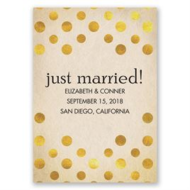 Polka Dot Love - Gold - Wedding Announcement