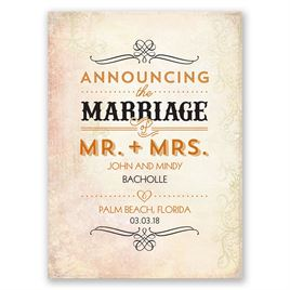 Antique Finish - Wedding Announcement Postcard