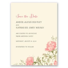 Delicate Roses - Ecru - Save the Date Card