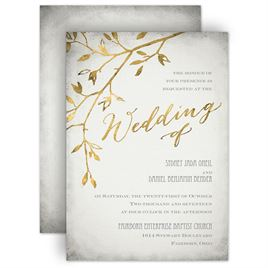 glam wedding invites leaves of gold invitation - Wedding Invitations Gold