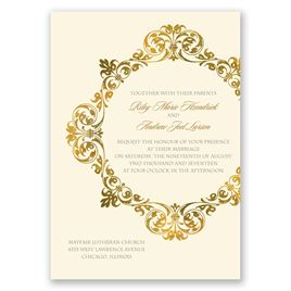 Gold Crest - Ecru - Invitation