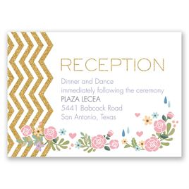 Chevron and Roses - Faux Glitter - Reception Card