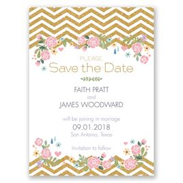 Chevron and Roses - Faux Glitter - Save the Date Card