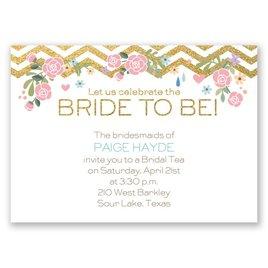 Chevron and Roses - Faux Glitter - Mini Bridal Shower Invitation