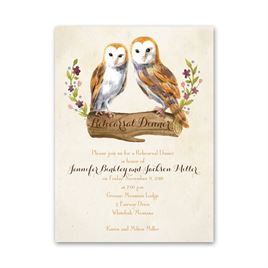 Vintage Owls - Petite Rehearsal Dinner Invitation