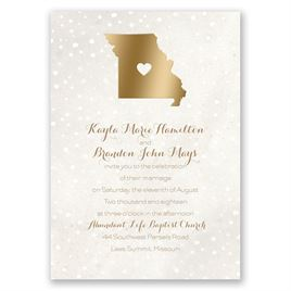 Heart and Home - Gold - Foil Invitation