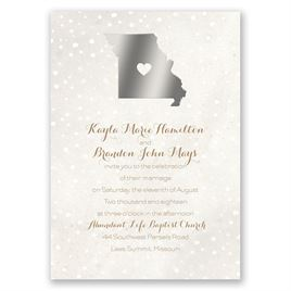 Heart and Home - Silver - Foil Invitation