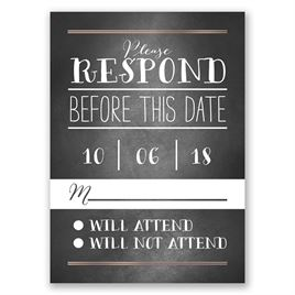 Filigree on Chalkboard - Rose Gold - Foil Response Card