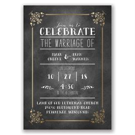 Filigree on Chalkboard - Gold - Foil Invitation
