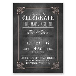 Filigree on Chalkboard - Rose Gold - Foil Invitation