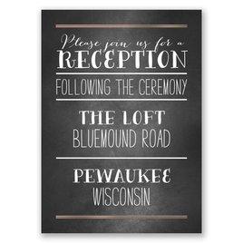 Filigree on Chalkboard - Rose Gold - Foil Reception Card