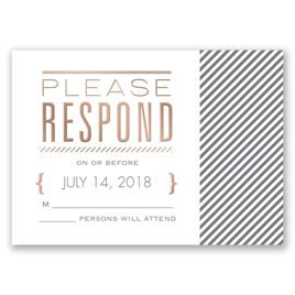Pinstriped Perfection - Rose Gold - Foil Response Card