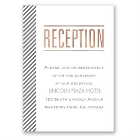 Pinstriped Perfection - Rose Gold - Foil Reception Card