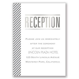 Pinstriped Perfection - Silver - Foil Reception Card